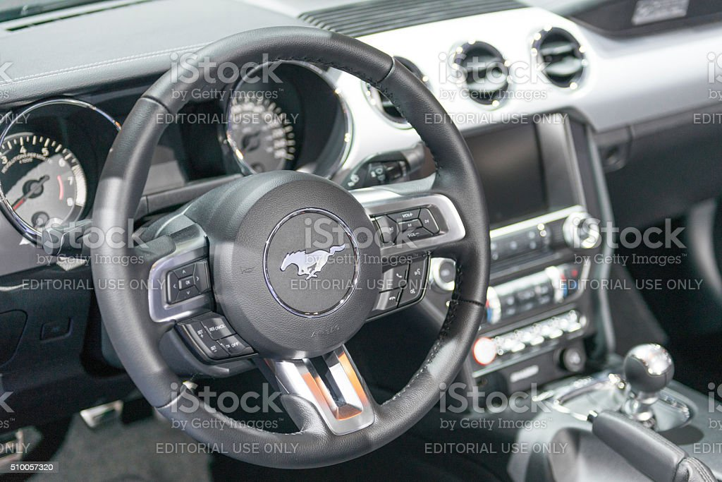 Ford Mustang GT Premium Convertible Muscle Car steering wheel stock photo