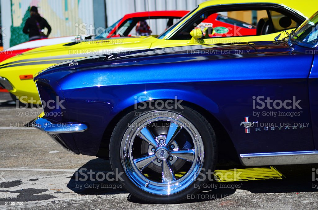 Ford Mustangs in public US muscle cars V8 car show stock photo