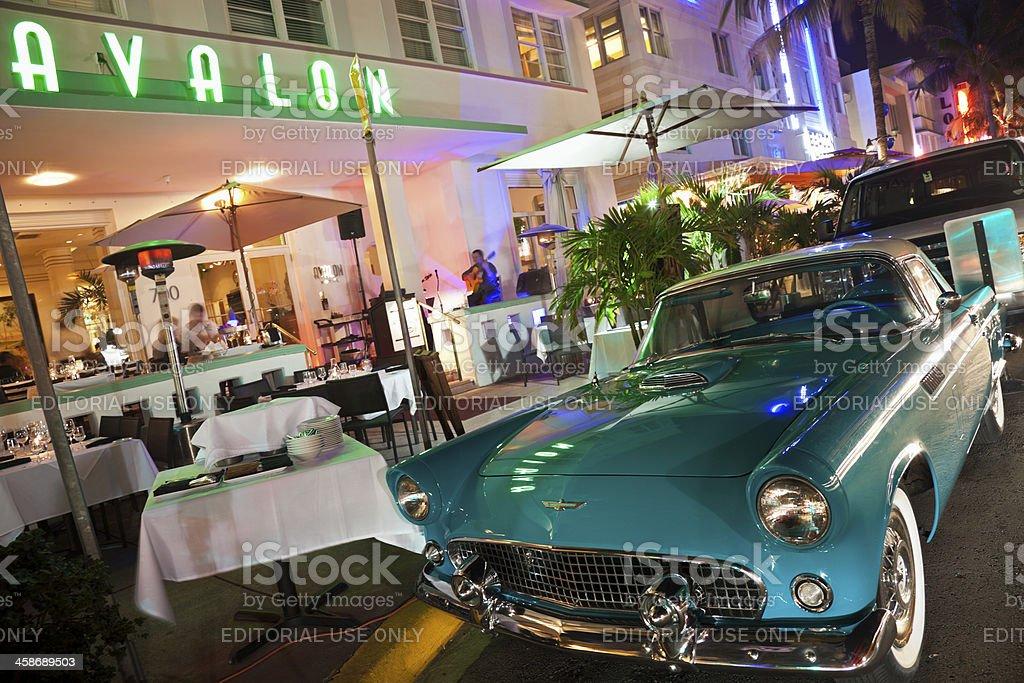 Ford Thunderbird and Avalon Hotel stock photo
