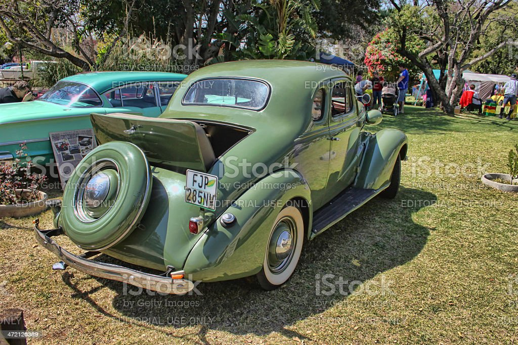 1936 Ford Two-Door Coupe with Rumble Seat rear side view royalty-free stock photo