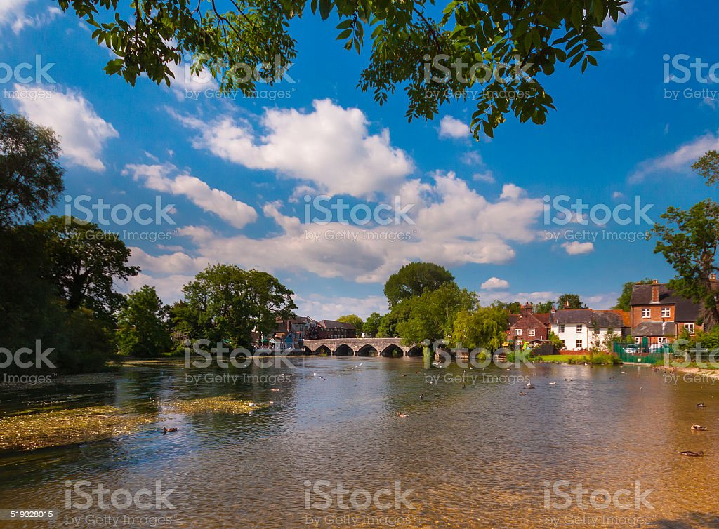 Fordingbridge and the River Avon in Hampshire stock photo