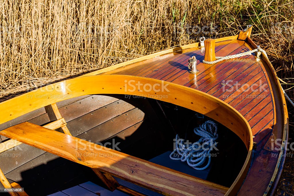 Fore of handmade motorboat stock photo