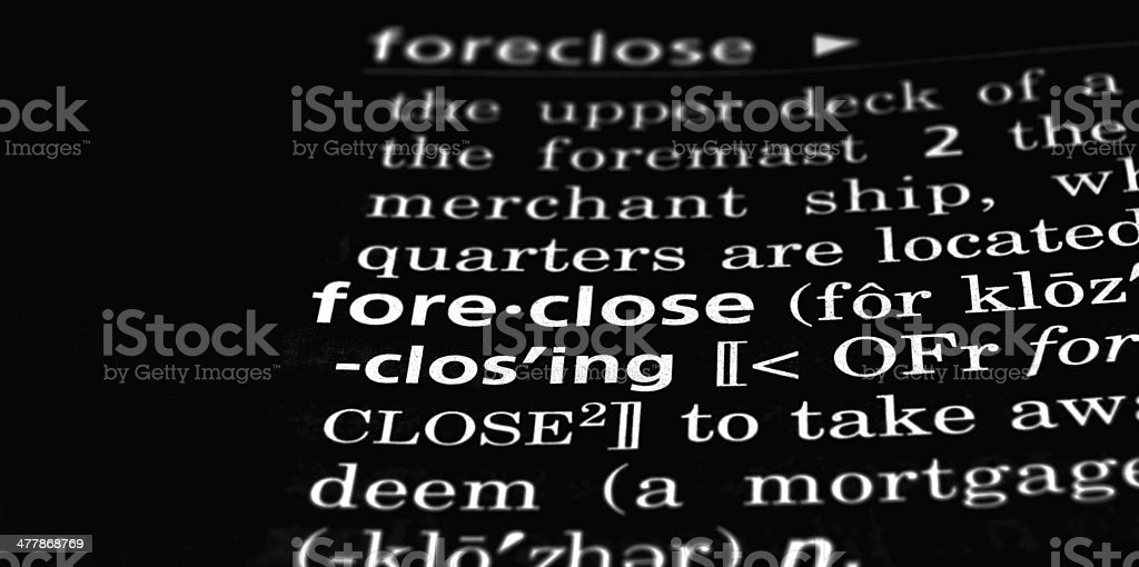 Foreclosure Defined on Black royalty-free stock photo