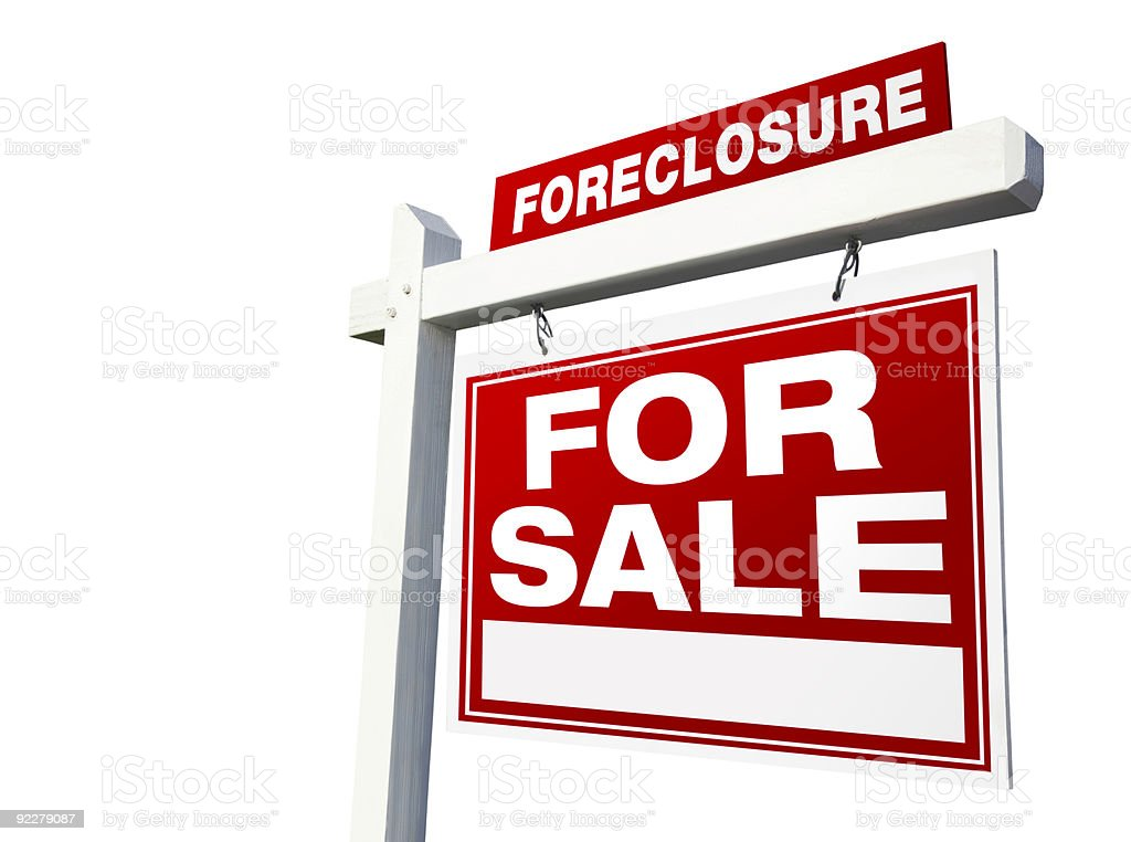 Foreclosure For Sale Real Estate Sign with Clipping Path stock photo
