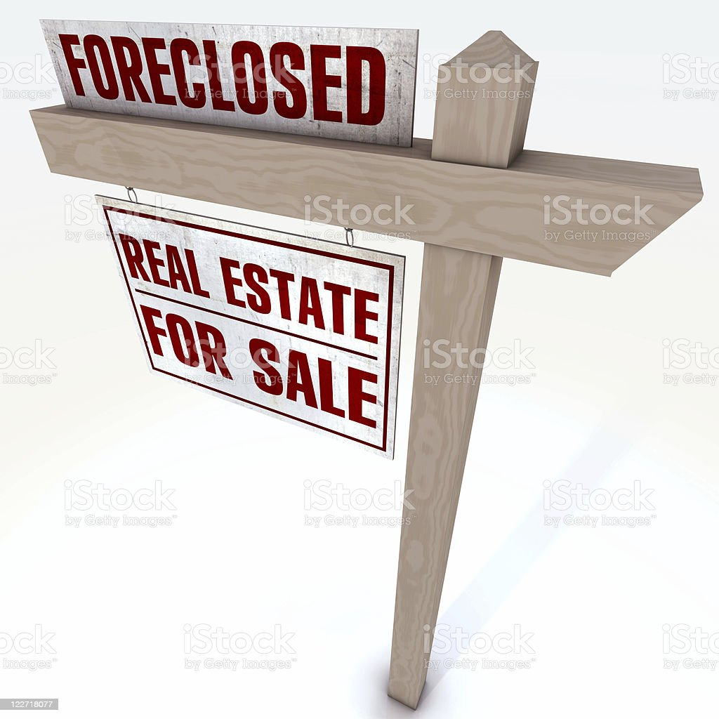 Foreclosure Real Estate Sign stock photo