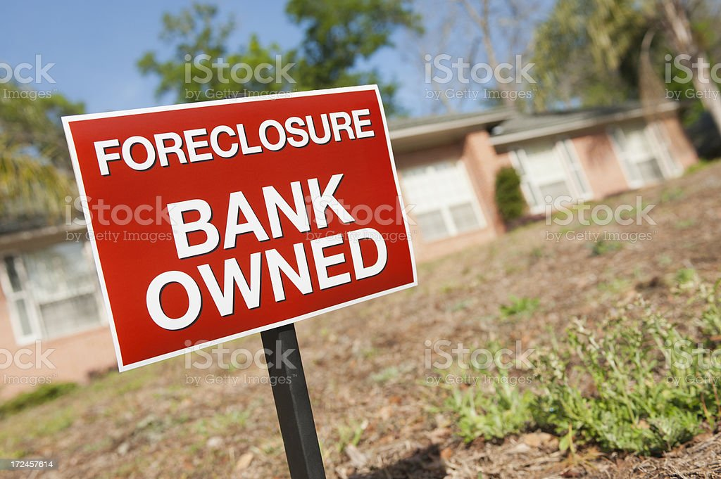 Foreclosure Sign in yard stock photo