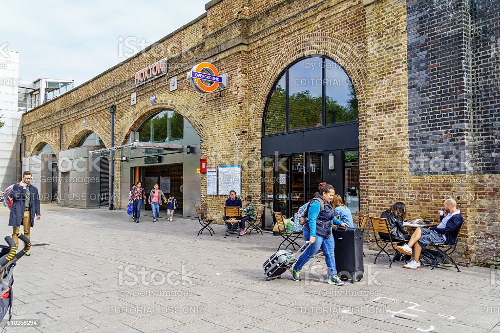 Forecourt outside Hoxton Station on London Overground stock photo