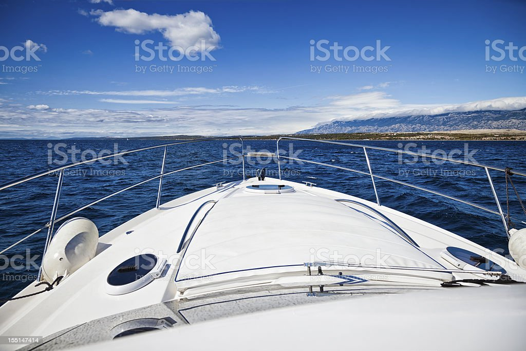 Foredeck of modern yacht stock photo