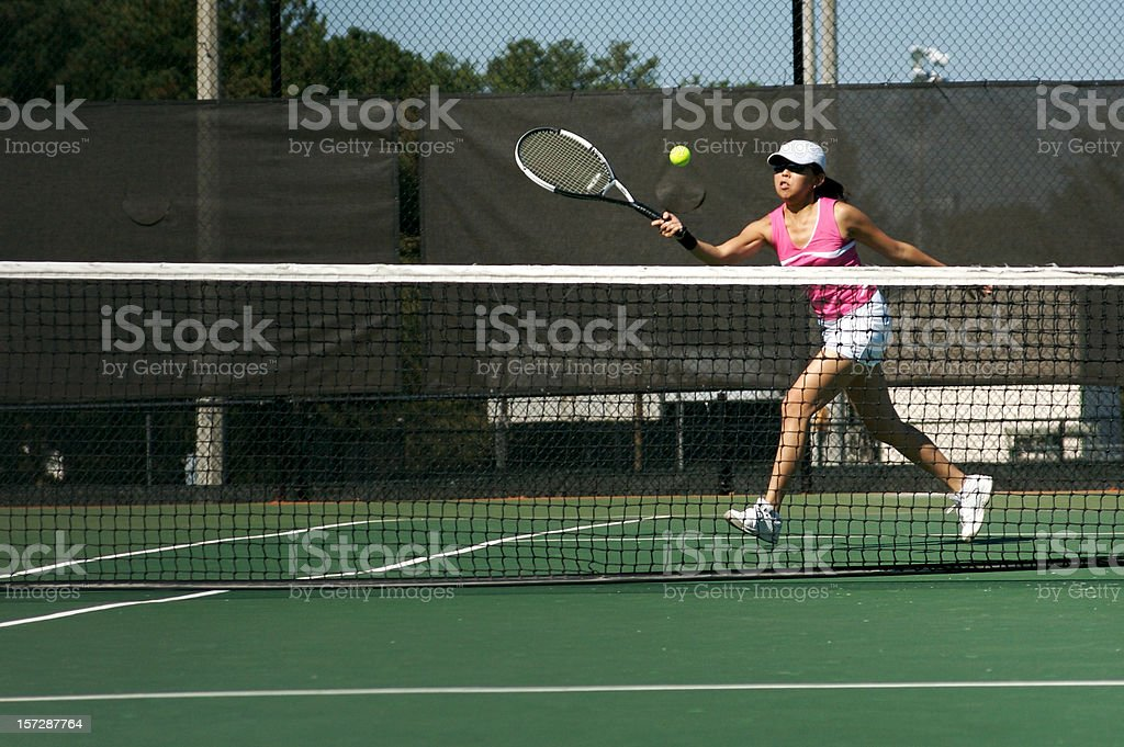 Forehand Crosscourt Volley royalty-free stock photo