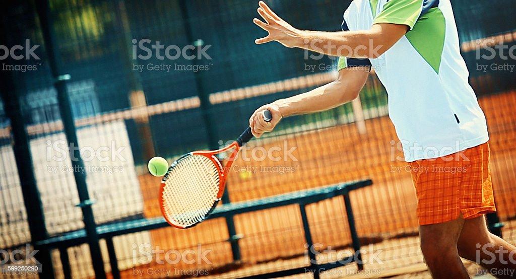 Forehand shot. stock photo