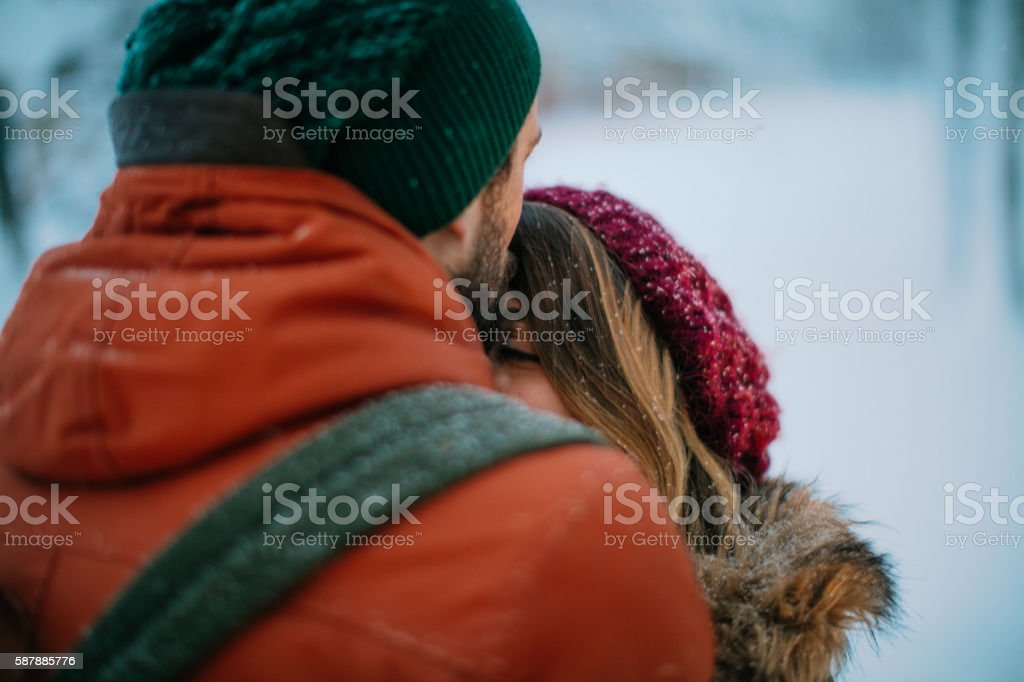 Forehead kiss stock photo
