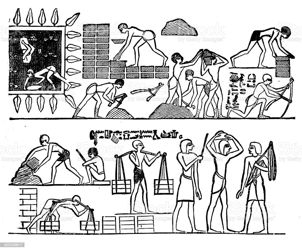 Foreign Captives Making Bricks At Thebes vector art illustration
