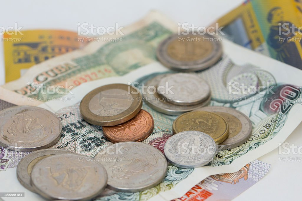 Foreign Coins and Banknotes stock photo