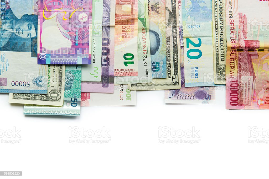 Foreign currency banknotes stock photo