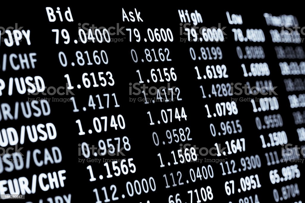 foreign exchange forex currency pairs trading screen royalty-free stock photo