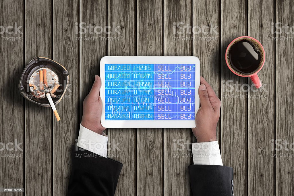 Foreign exchange trade on digital tablet stock photo