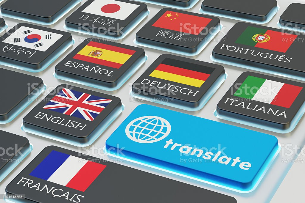 Foreign languages translation concept, online translator stock photo