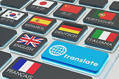 Foreign languages translation concept, online translator