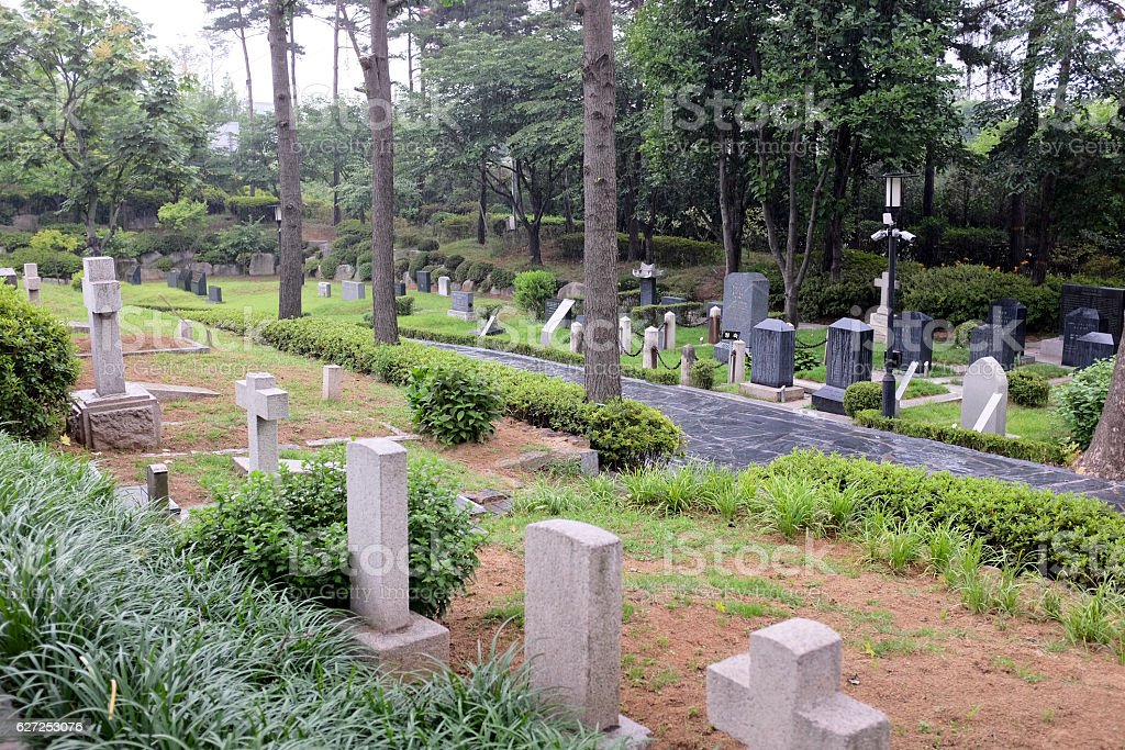 foreign missionary cemetery in Seoul,South Korea. stock photo