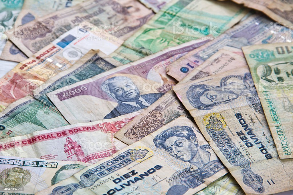 Foreign Money, money banknotes from several Asian south american countries stock photo