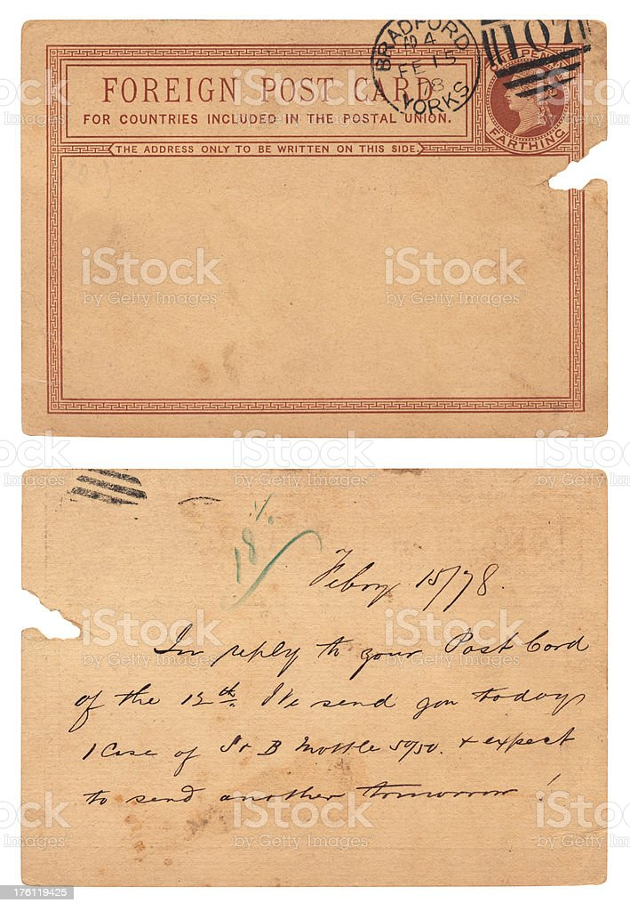 'Foreign' postcard from Bradford, 1878, two sides, penny farthing postage stock photo