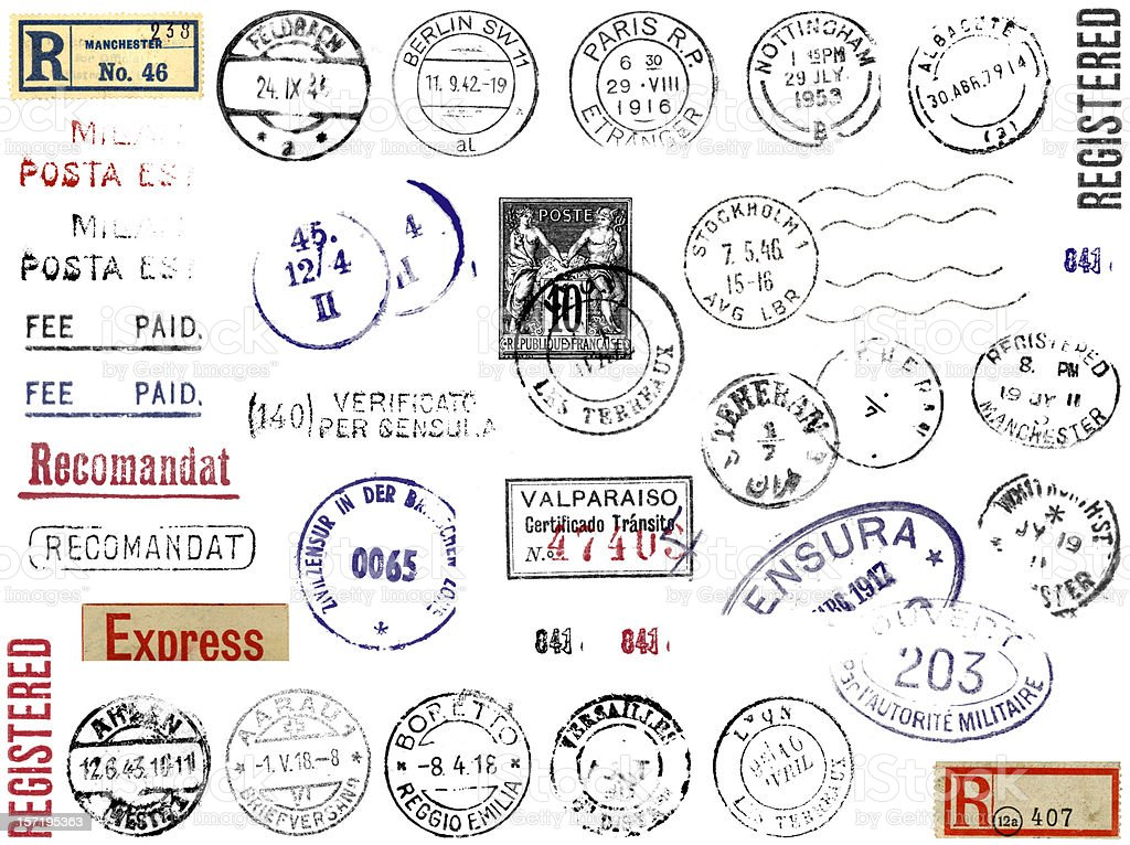 Foreign Postmarks Stamps & Stickers Europe stock photo