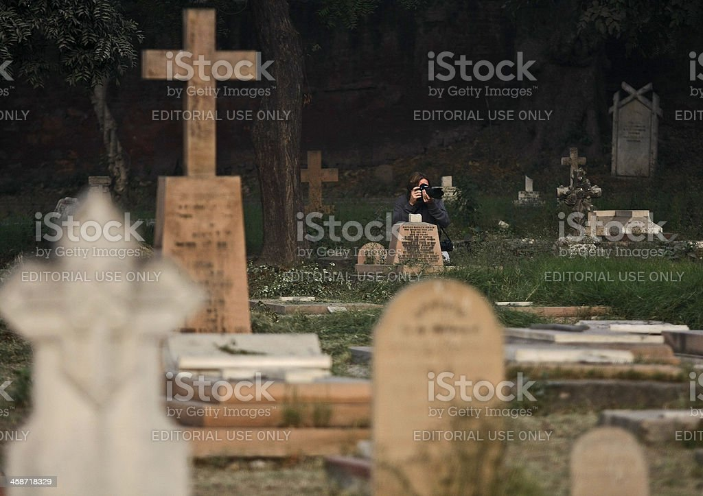Foreign Tourist and graveyard royalty-free stock photo