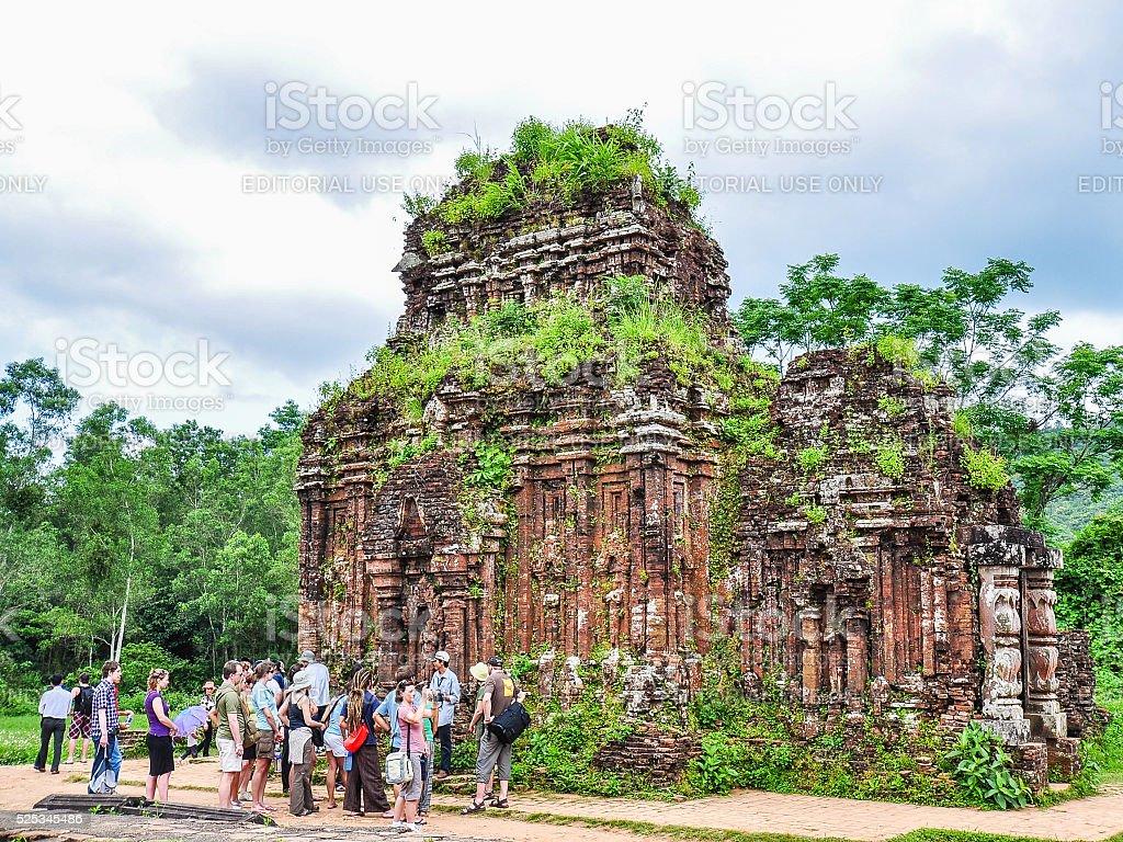 Foreign Tourists Visit My Son, Vietnam stock photo