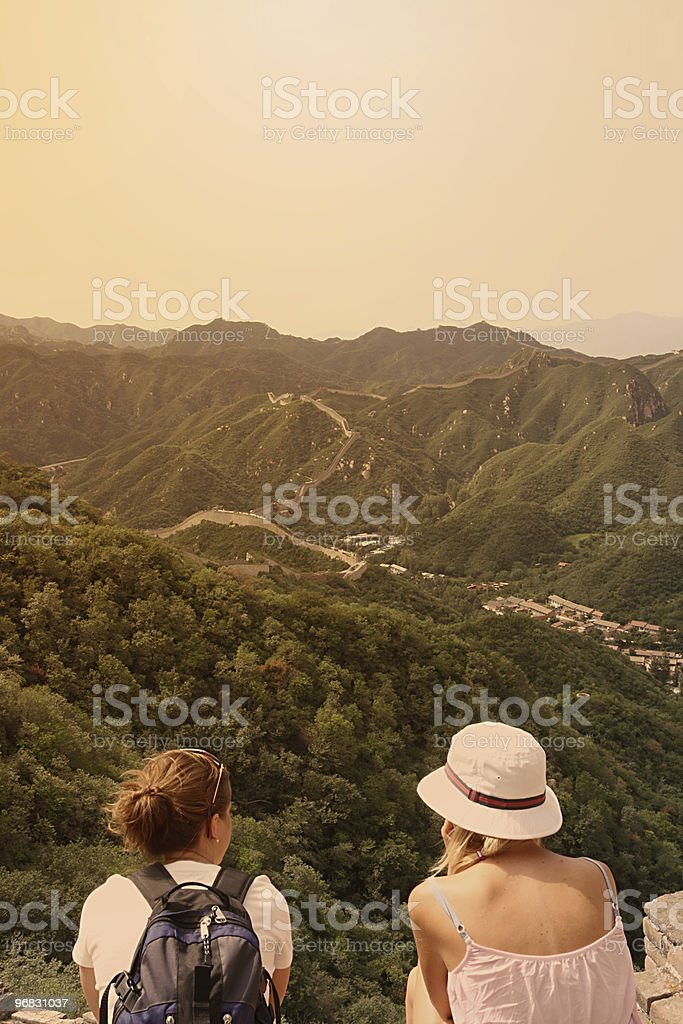 Foreign Tourists watching The Great Wall in China stock photo