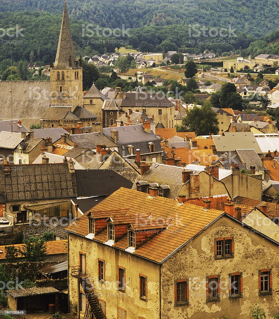 Foreign village with a sky view of the rooftops stock photo