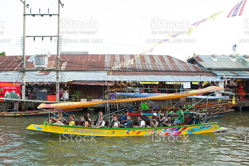 Foreigners are travelling on boat. stock photo