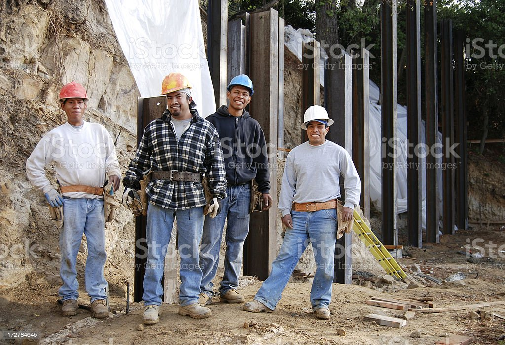 Foreman and his crew stock photo
