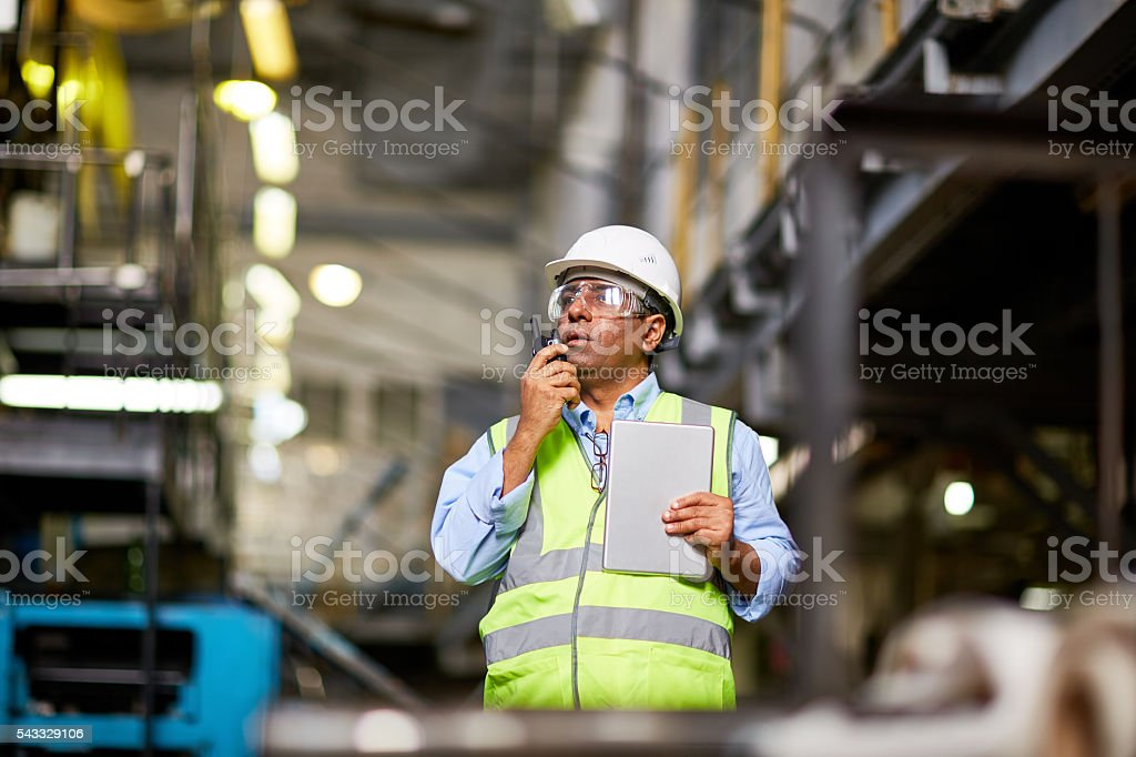 Foreman at work stock photo