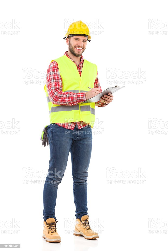 Foreman taking a notes stock photo