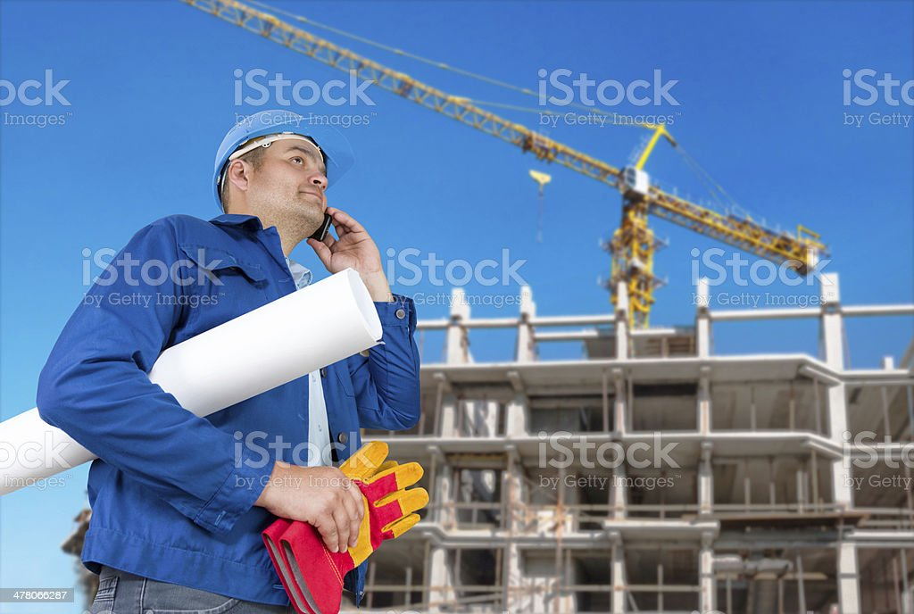 Foreman with blueprints royalty-free stock photo