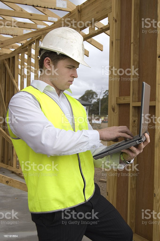 Foreman with laptop royalty-free stock photo