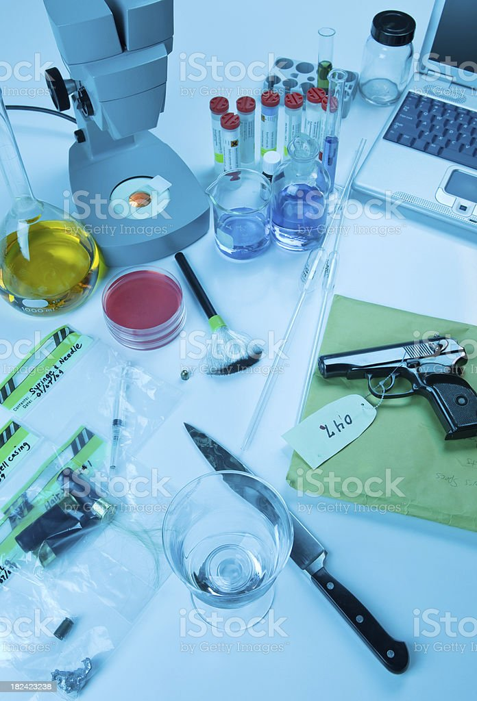 Forensic Science Lab with Equipment and Evidence stock photo