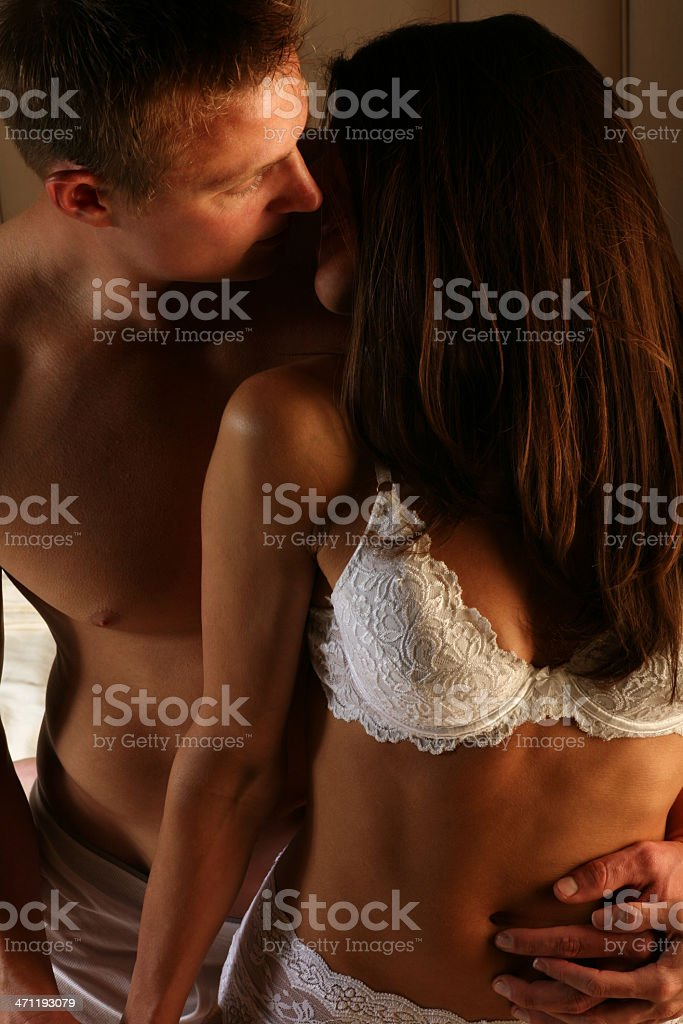 Foreplay - Attractive Sexy Passionate Loving Couple Embrace royalty-free stock photo
