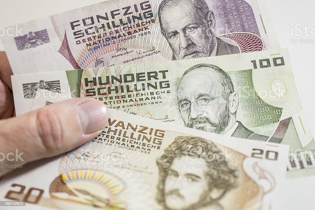 forerunner of european Euro in the hand royalty-free stock photo