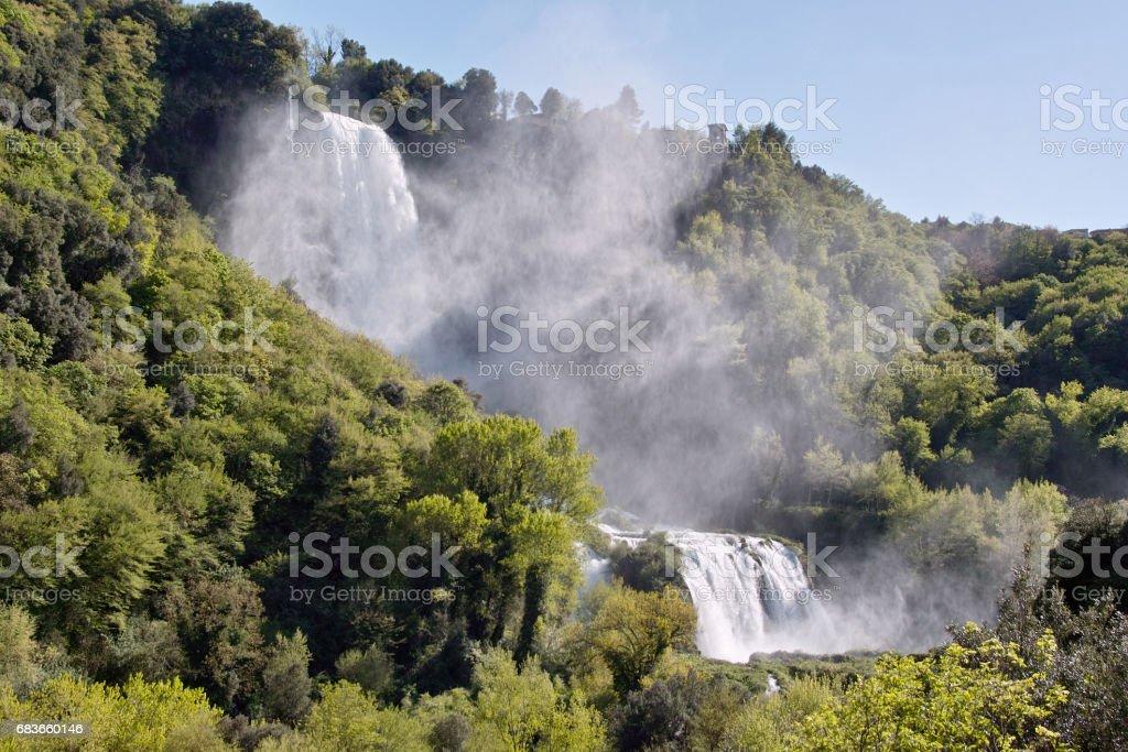 foreshortening of marmore falls, terni, italy. stock photo
