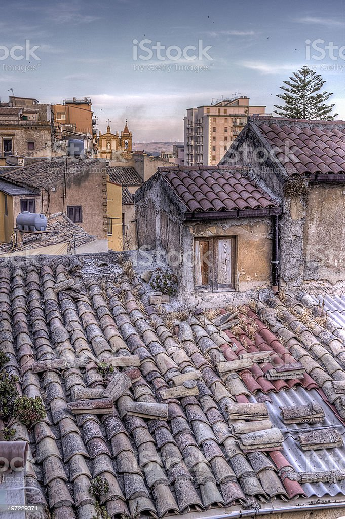 foreshortening of old houses stock photo
