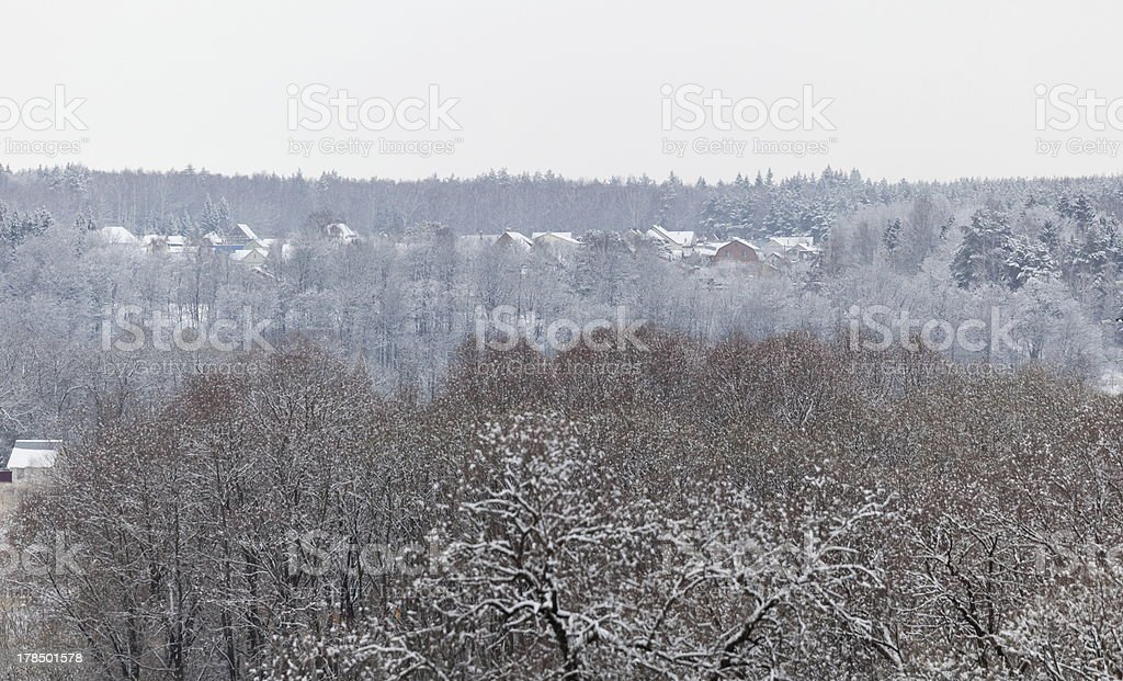 Forest and holiday village after heavy snowfall. Moscow region. Russia. royalty-free stock photo