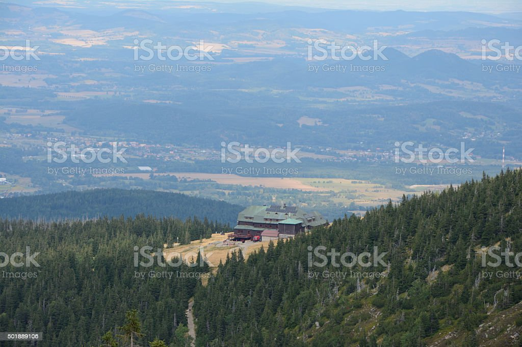 Forest and Strzecha akademicka hill station. stock photo