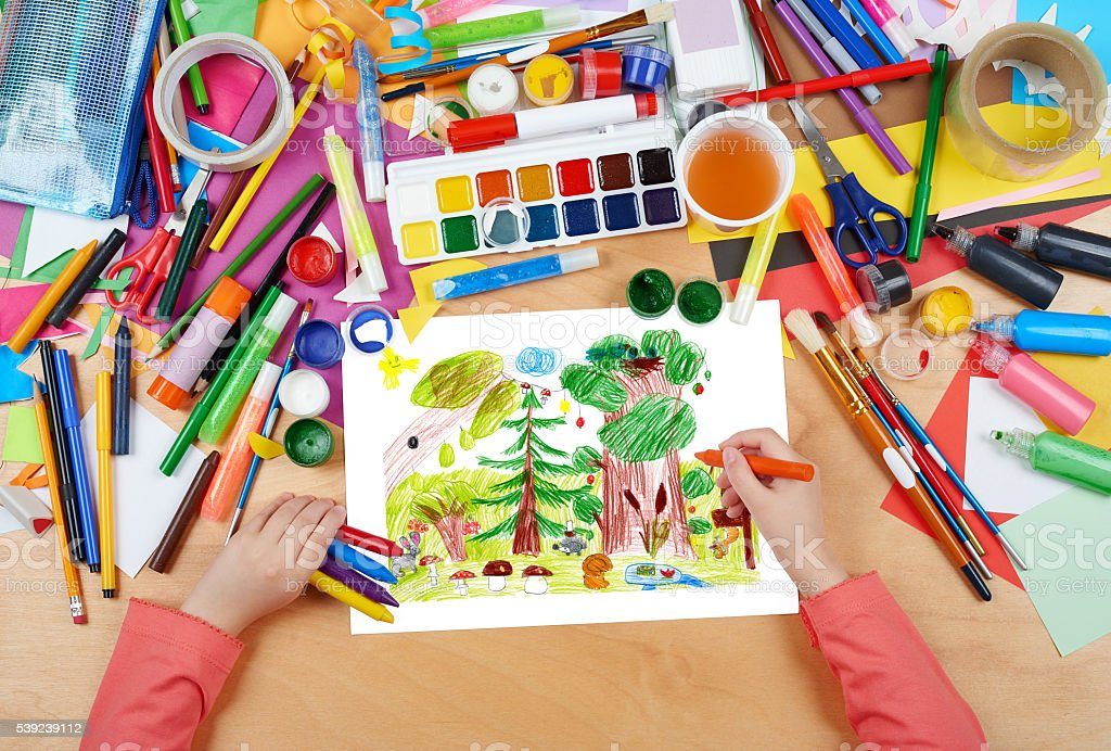 forest and wildlife animals child drawing, artwork workplace stock photo