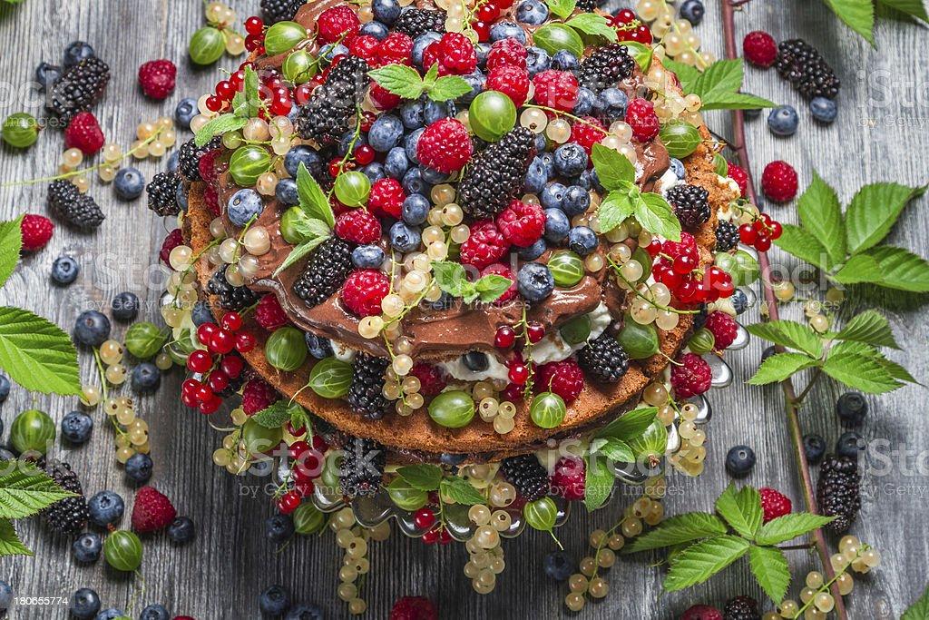 Forest cake made of fresh wild fruit royalty-free stock photo