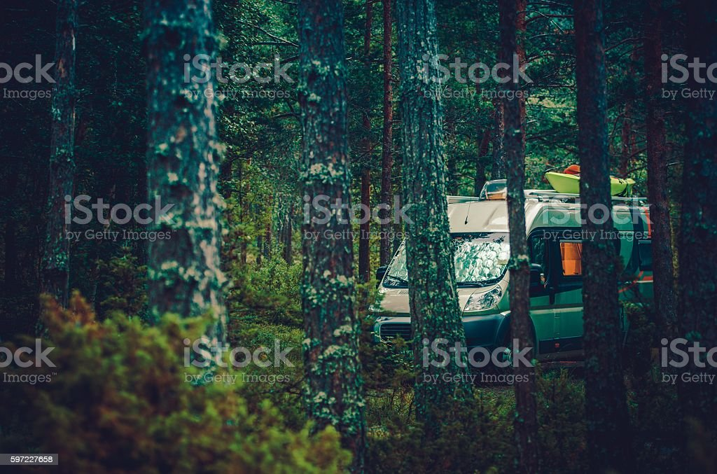 RV Forest Camping stock photo