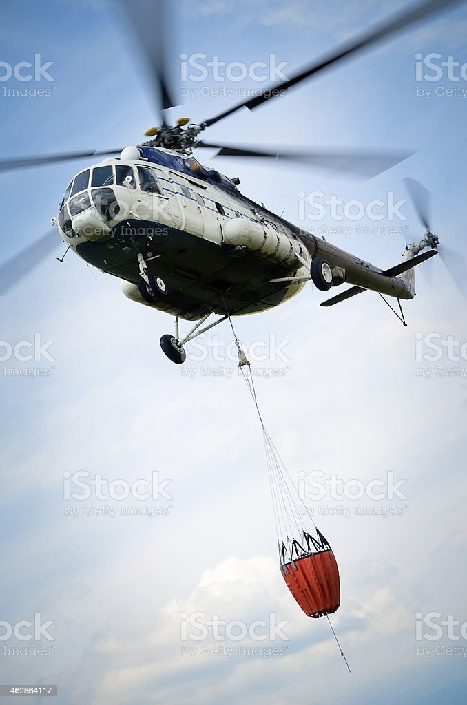 Forest fire fighting stock photo