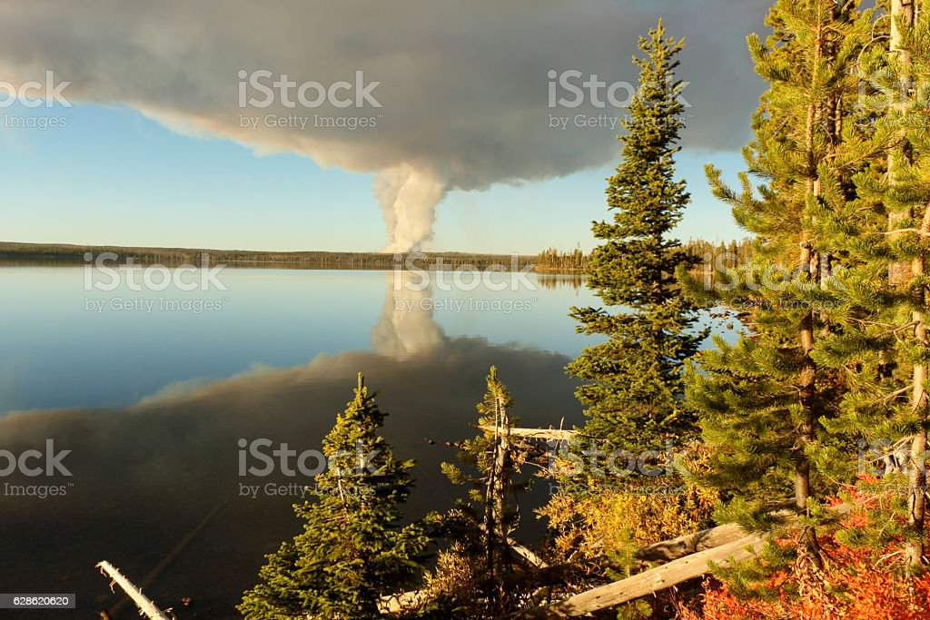 Forest Fire over Lewis Lake, Yellowstone National Park stock photo