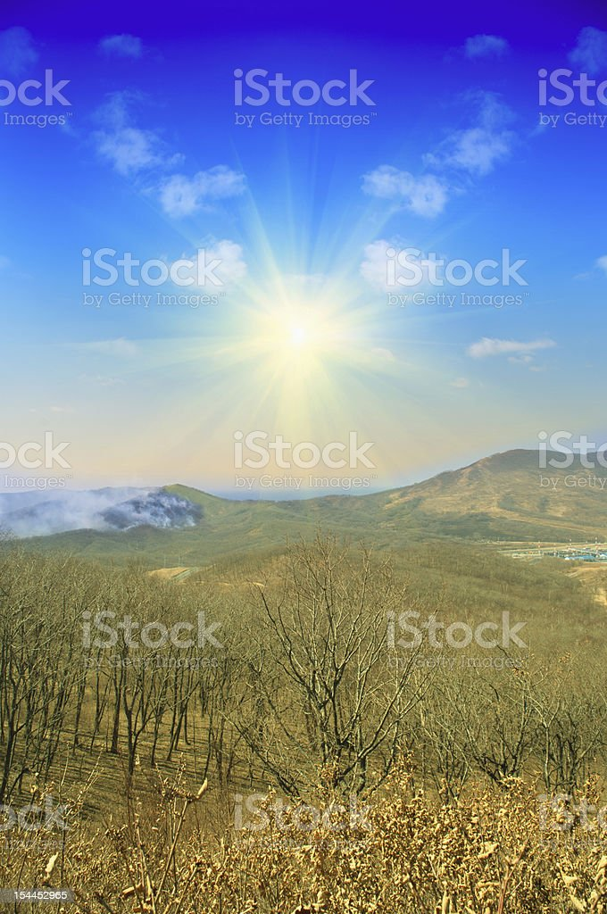 Forest Fire Smoke In Mountains royalty-free stock photo