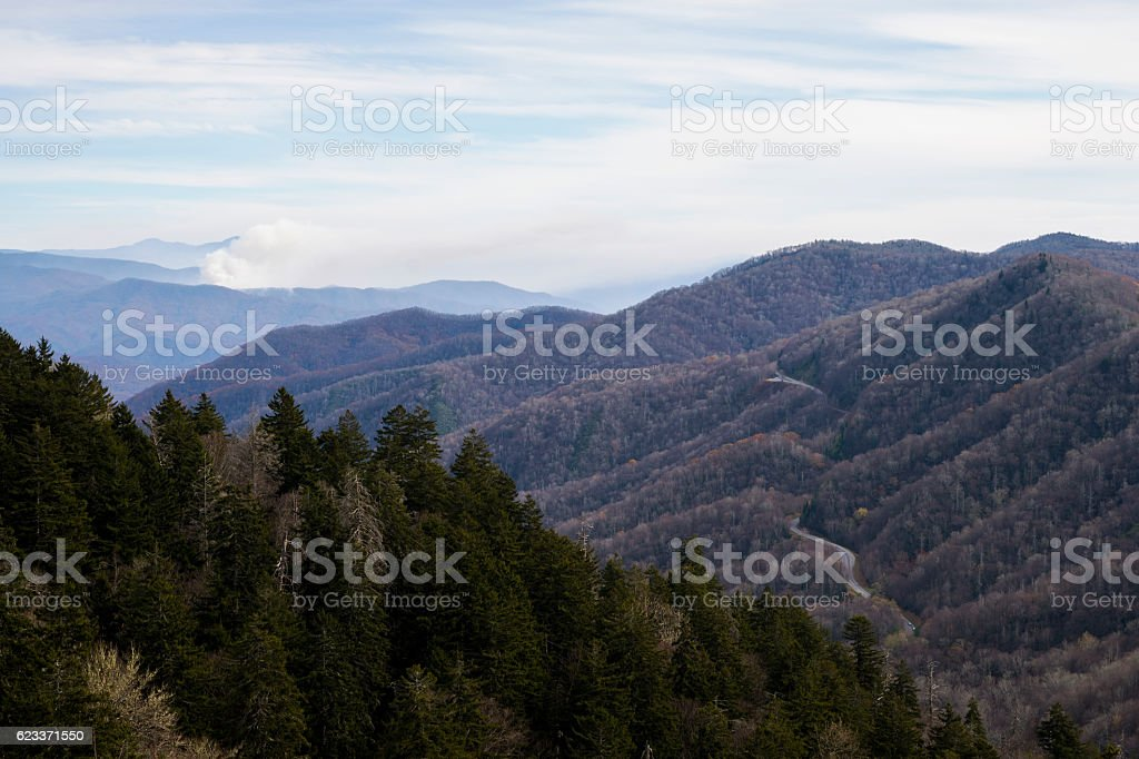 Forest fire viewed from Newfound Gap in Smoky Mountains stock photo